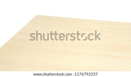 High angle perspective view of wood or wooden table corner on white background including clipping path
