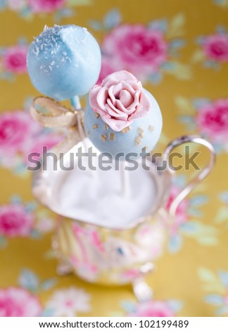 High angle Rose Flower Cake Pop with beautiful background