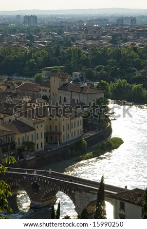 High angle shot of ponte di pietra in Verona, Italy.