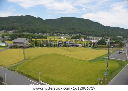 High angle shot of scenic countryside landscape