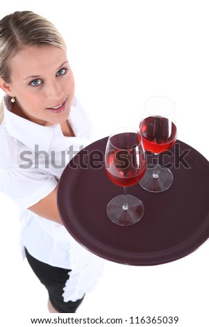 high angle shot of young waitress