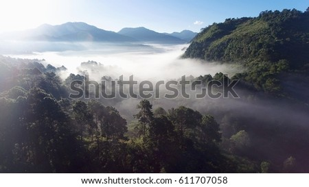 High angle ,Sun rise with mountain and the fog.,Picture from Phantom 4