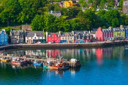 High angle view at a harbor in Tobermory on Scotland coast