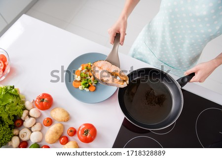 High angle view cropped photo of housewife lady put grilled salmon fillet steak flying pan ready roasted on plate with garnish cooking dinner wear apron t-shirt stand modern kitchen indoors