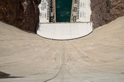 High Angle View Looking Down at Colorado River and Hydroelectric Equipment from Hoover Dam, a Popular Tourist Attraction in Black Canyon on Border of Arizona and Nevada, USA