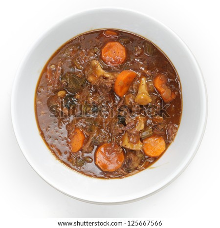 High angle view of a bowl of homemade oxtail stew
