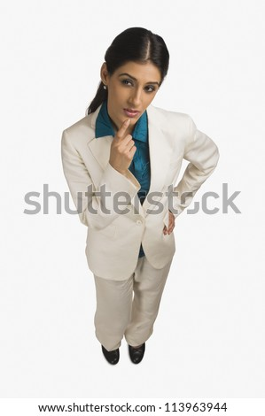High angle view of a businesswoman thinking