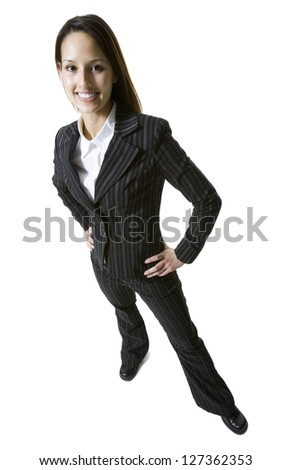 High angle view of a businesswoman with hands on hips