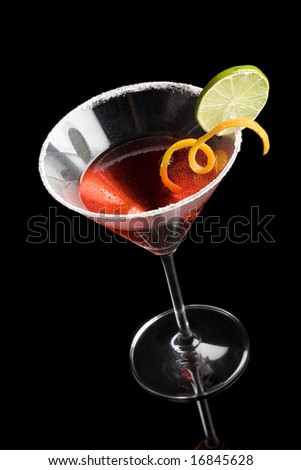 High angle view of a cosmopolitan isolated on a black background