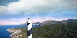 High angle view of a lighthouse on the coastline