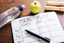 High Angle View Of A Meal Plan Concept On Wooden Desk