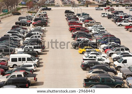 High angle view of a parking lot.