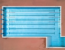 High angle view of an empty swimming pool with copy space