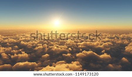 high angle view of beautiful golden sunset above clouds #1149173120