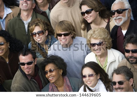 High angle view of happy group of multiethnic people wearing sunglasses #144639605