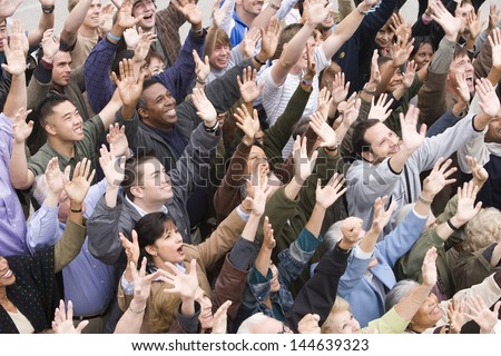 High angle view of happy multiethnic people raising hands together #144639323
