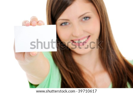 High angle view of happy woman showing the blank business card in hand