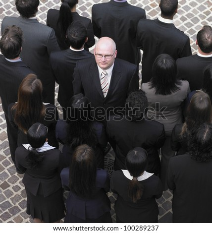 High angle view of large group of businesspeople