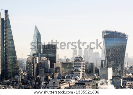 High angle view of London City skyline and the financial district #1335521606