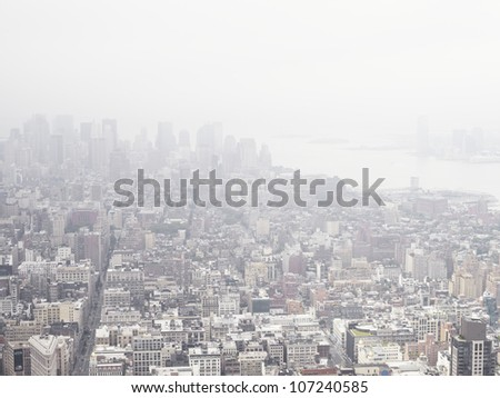 High angle view of Manhattan architecture