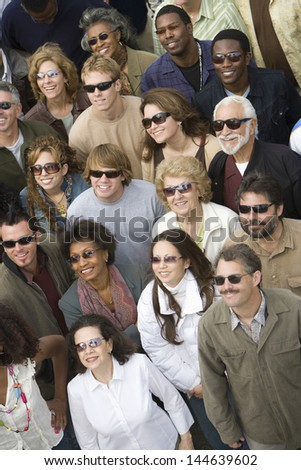 High angle view of multiethnic people wearing sunglasses #144639602