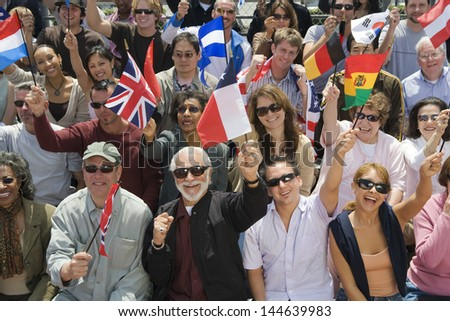 High angle view of multiethnic people with different country flags #144639983