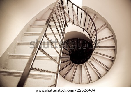 high angle view of old spiral staircase