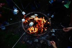 High angle view of people roasting marshmallows on skewers over fire pit at campsite. Enjoying summer outdoor camping fun and friend togetherness when park and campsite reopen after pandemic lockdown.
