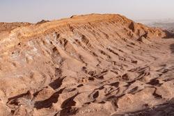 High angle view of rock formations caused by erosion in el Valle de la Luna (Valley of the Moon) near San Pedro de Atacama, Chile