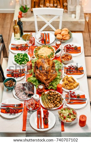 high angle view of served table with delicious dinner for christmas dinner #740707102