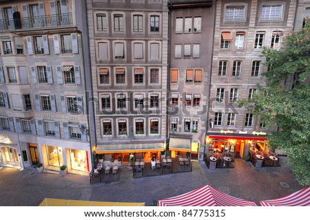 High-angle view of some old and charming houses on Rue de la Fontaine in the old town of Geneva, Switzerland.