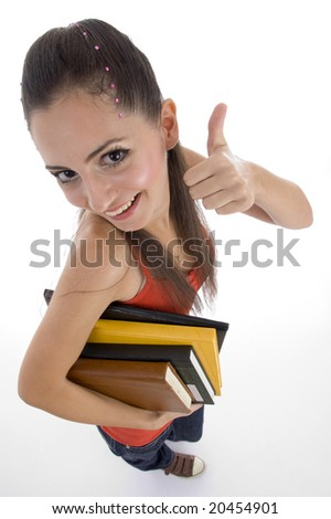 high angle view of student showing good luck sign with white background