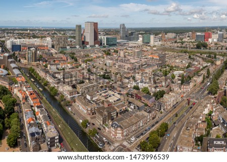 High angle view of The Hague downtown with skyscrapers, Netherlands. Taken from the Strijkijzer skyscraper with height of 132 m. #1473996539