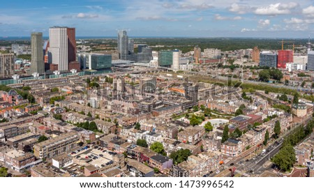 High angle view of The Hague downtown with skyscrapers, Netherlands. Taken from the Strijkijzer skyscraper with height of 132 m. #1473996542