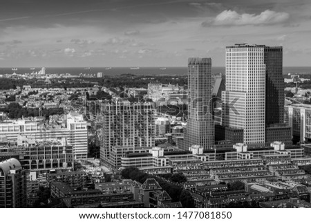 High angle view of The Hague downtown with skyscrapers, Netherlands. Taken from the Strijkijzer skyscraper with height of 132 m. #1477081850