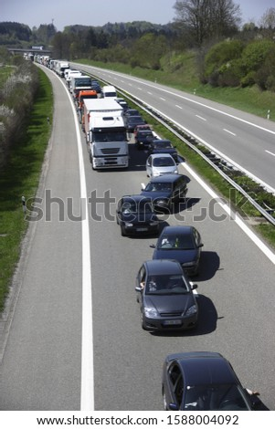 High angle view of traffic on the Autobahn, Germany
