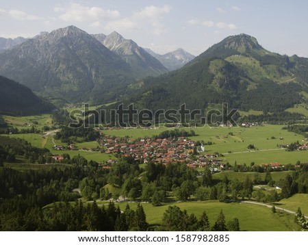 High angle view of village in mountain valley, Bad Oberdorf, Hindelang, Allgaeu, Germany,