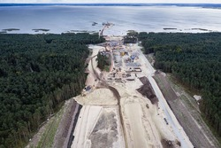 High angle view of Vistula Spit canal called Nowy Swiat New World canal building site between Vistula Lagoon and Bay of Gdansk, Baltic Sea, Poland