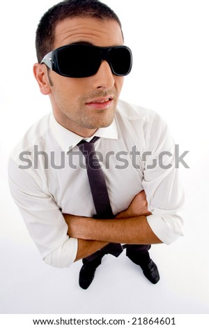 high angle view of young professional with sunglasses with white background