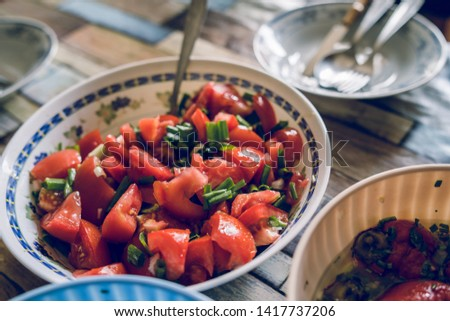 High angle view on the tomato salad at the farm domestic life organic natural #1417737206