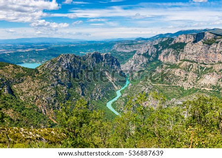 High angle view on the Verdon River and Gorge, Provence, France