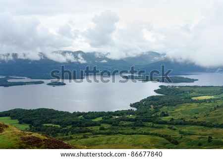 high angle view showing a cloudy scenery in Scotland around Loch Lomond