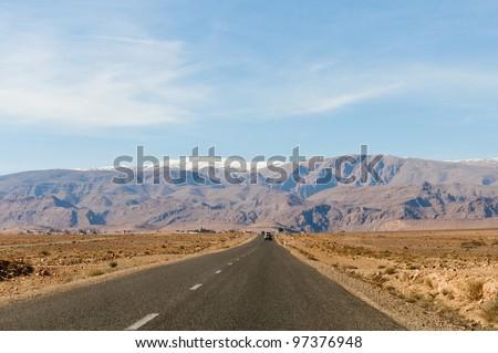 High Atlas Mountains on the horizon at Morocco