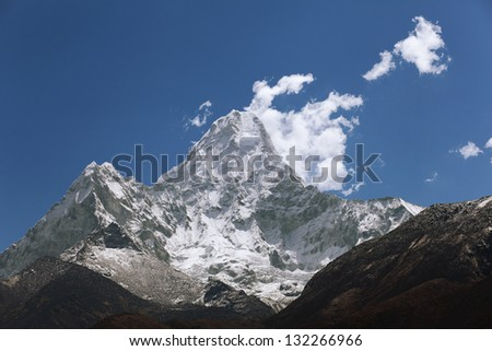 High blue mountains in cloud. Nepal. Everest