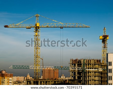 high building crane on the construction