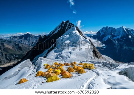 High camp on Manaslu (8163 ) peak in the Himalaya mountains