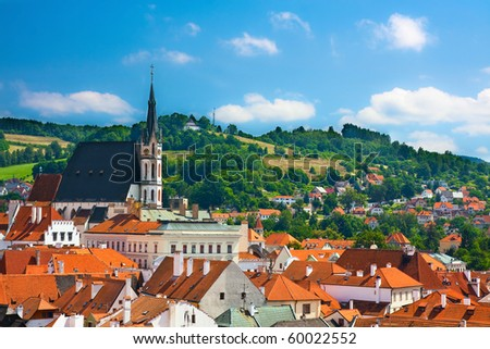 High church on medieval town: Cesky Krumlov