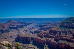 High cliffs above Bright Angel canyon, major tributary of the Grand Canyon, Arizona, view from the north rim