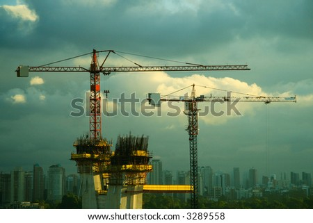 High construction against the distant landscape of Sao Paulo in Brazil
