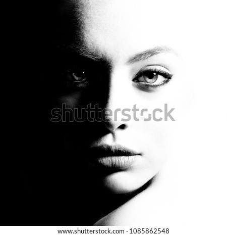 High contrast black and white portrait of a beautiful girl. #1085862548